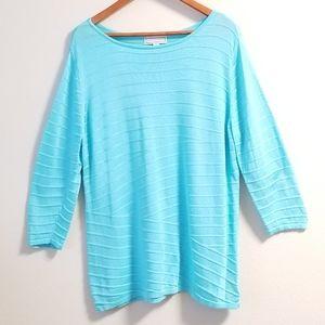 Dana Buchman Stripe Turquoise Cotton Sweater